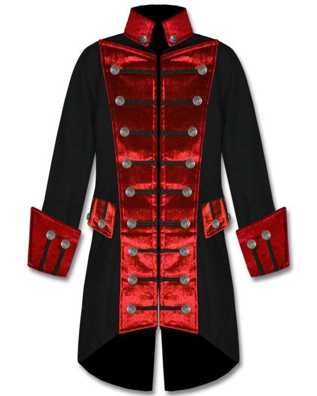 Black Red Velvet Trim Steampunk, Velvet Jackets, Gothic Clothing, Gothic Jackets
