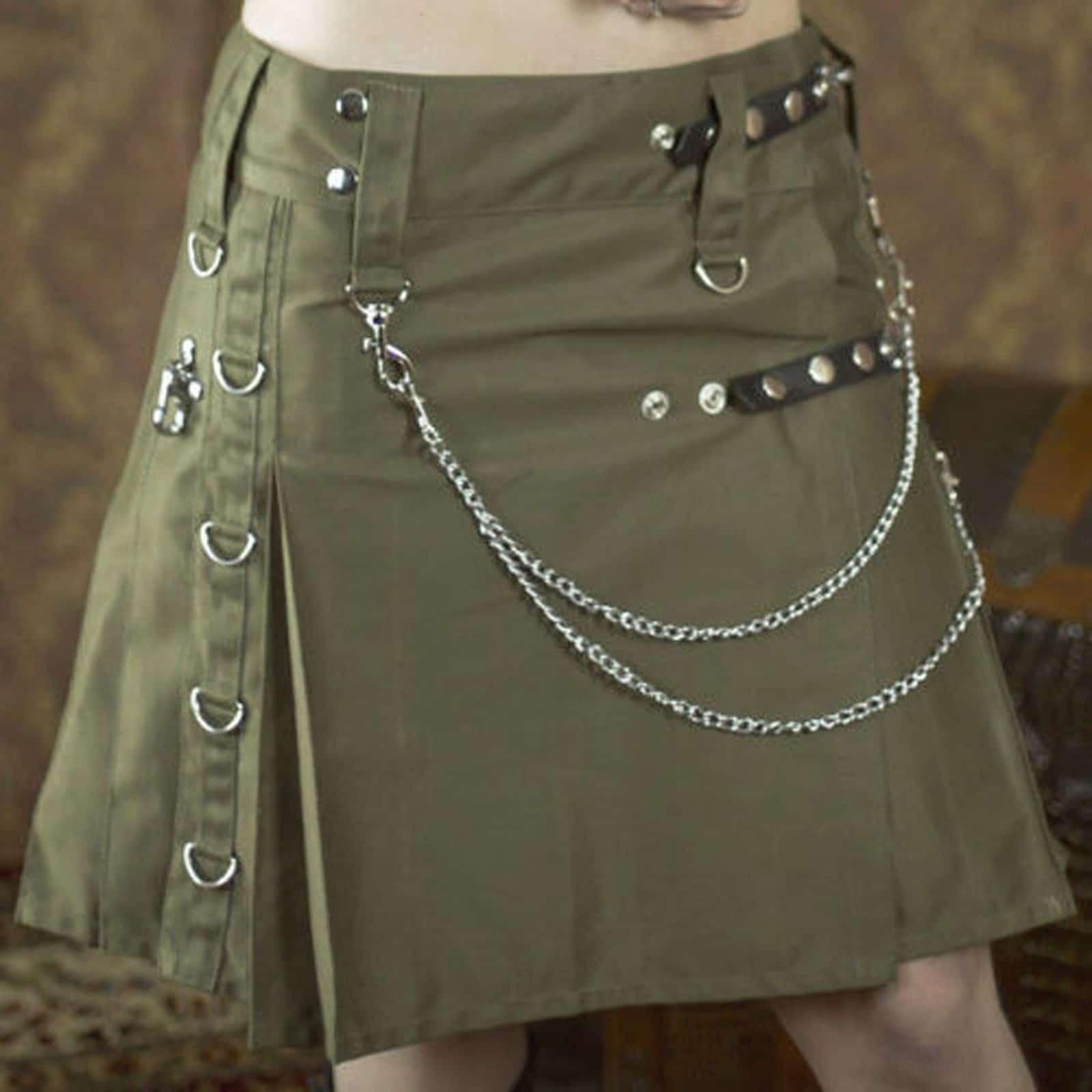 Women Utility Kilt With Leather Straps Womens Utility