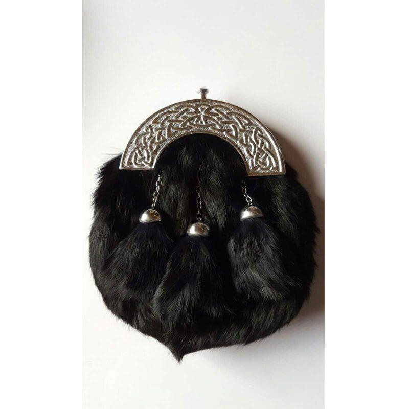 Black rabbit fur, black rabbit fur sporran, Sporran, Kilt sporran