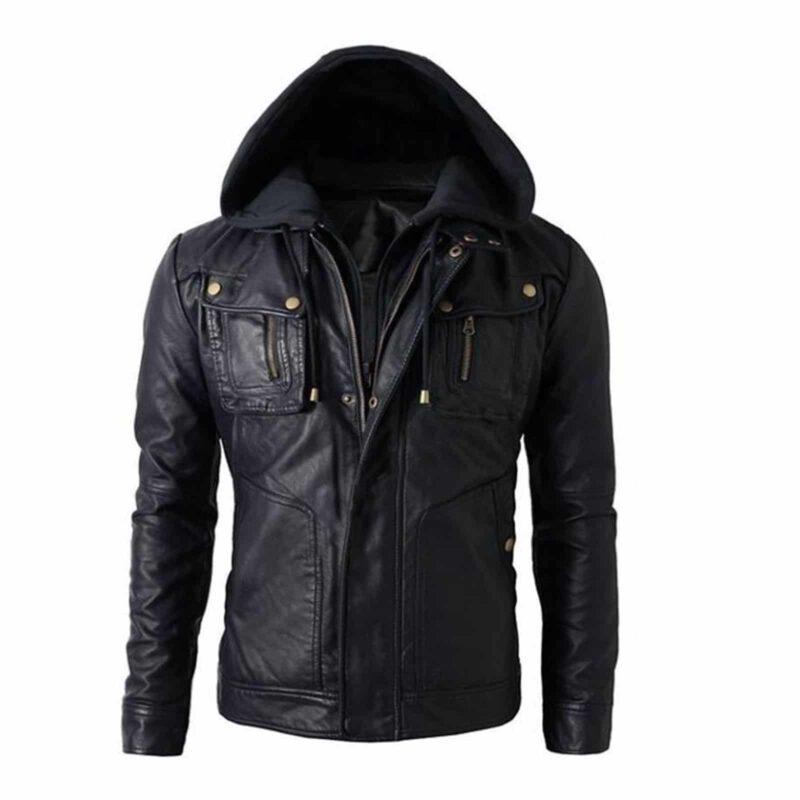 Brando jacket, leather jacket, biker leather jacket, hoodie jacket, leather hoodie jacket