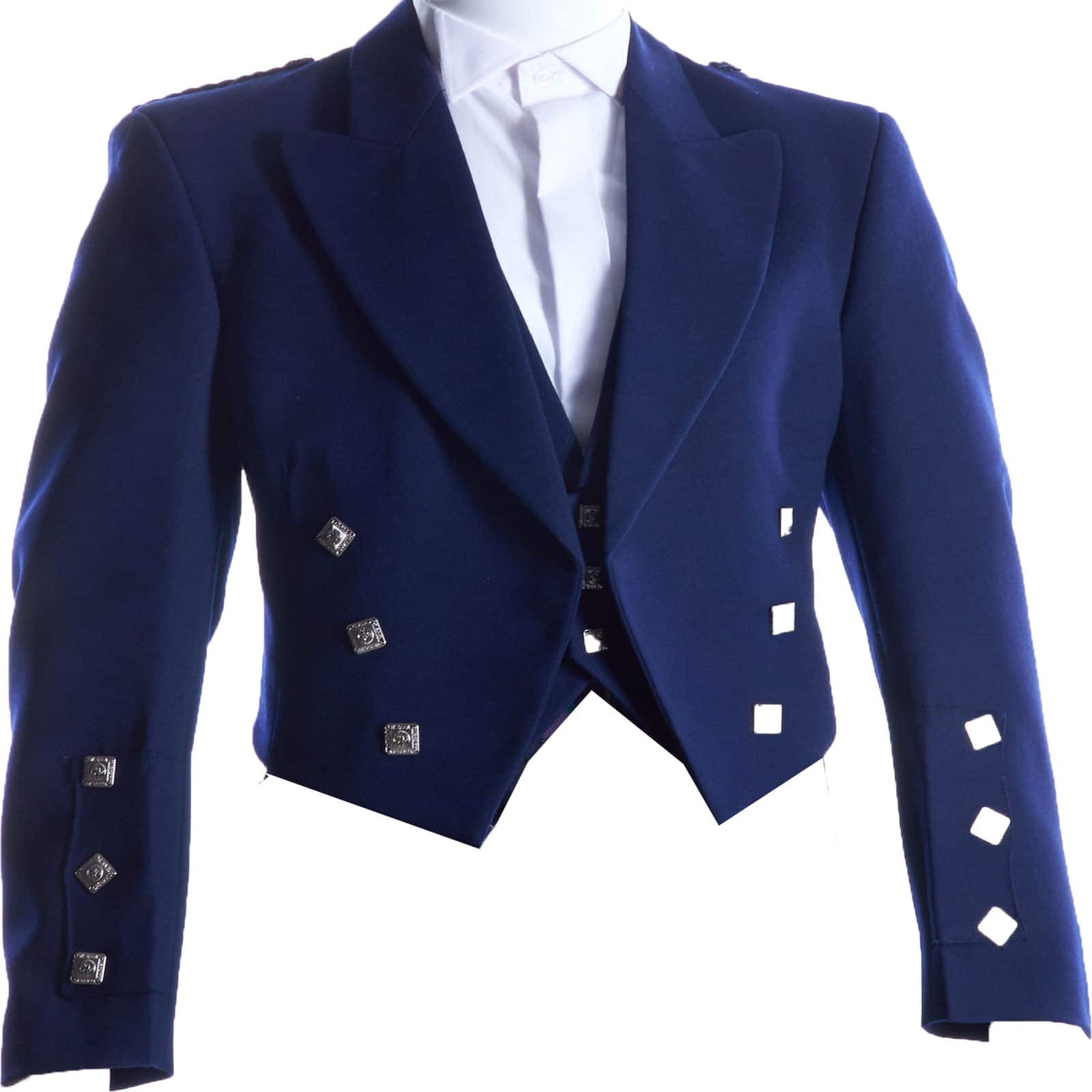 Navy Blue Prince Charlie Jacket With 3 Button Waist Coat