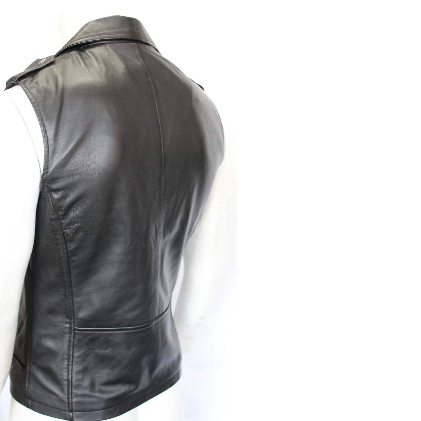 b566fb53438cd Brando Vintage Motorcycle Black Leather Vest