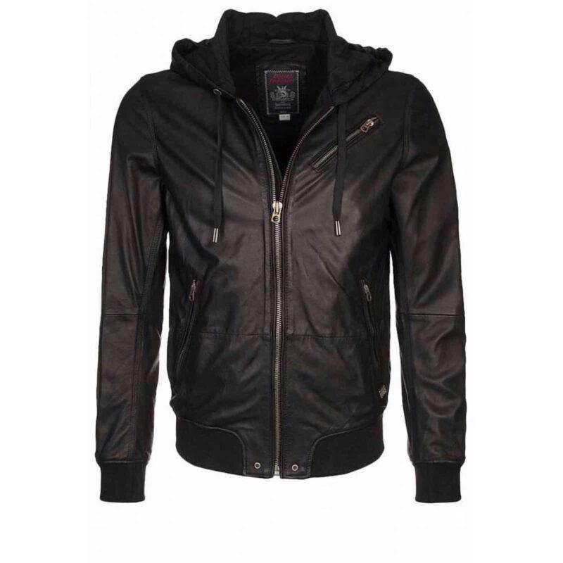 Hooded Black Leather Bomber Jacket 100 Custom Made Kilt And Jacks