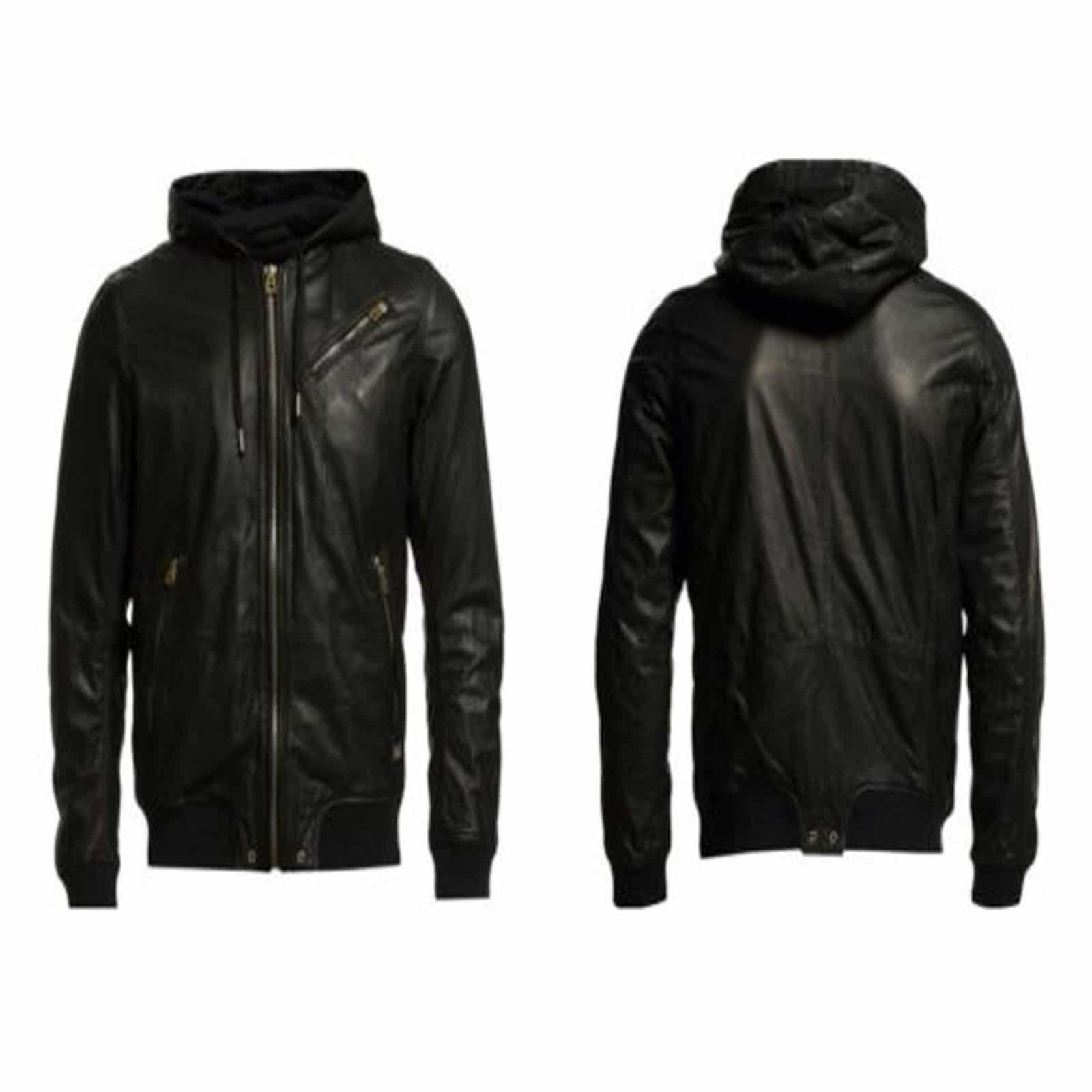 Hooded Black Leather Bomber Jacket 100 Custom Made