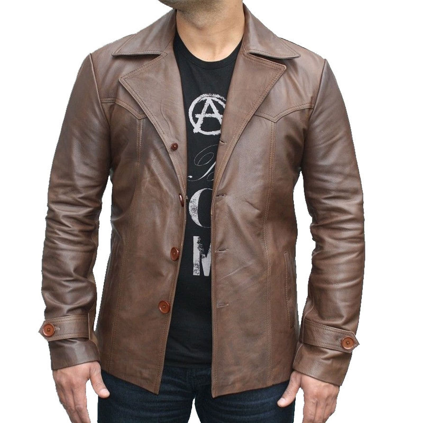 70 S Vintage Men S Leather Jacket 100 Genuine Leather Kilt And