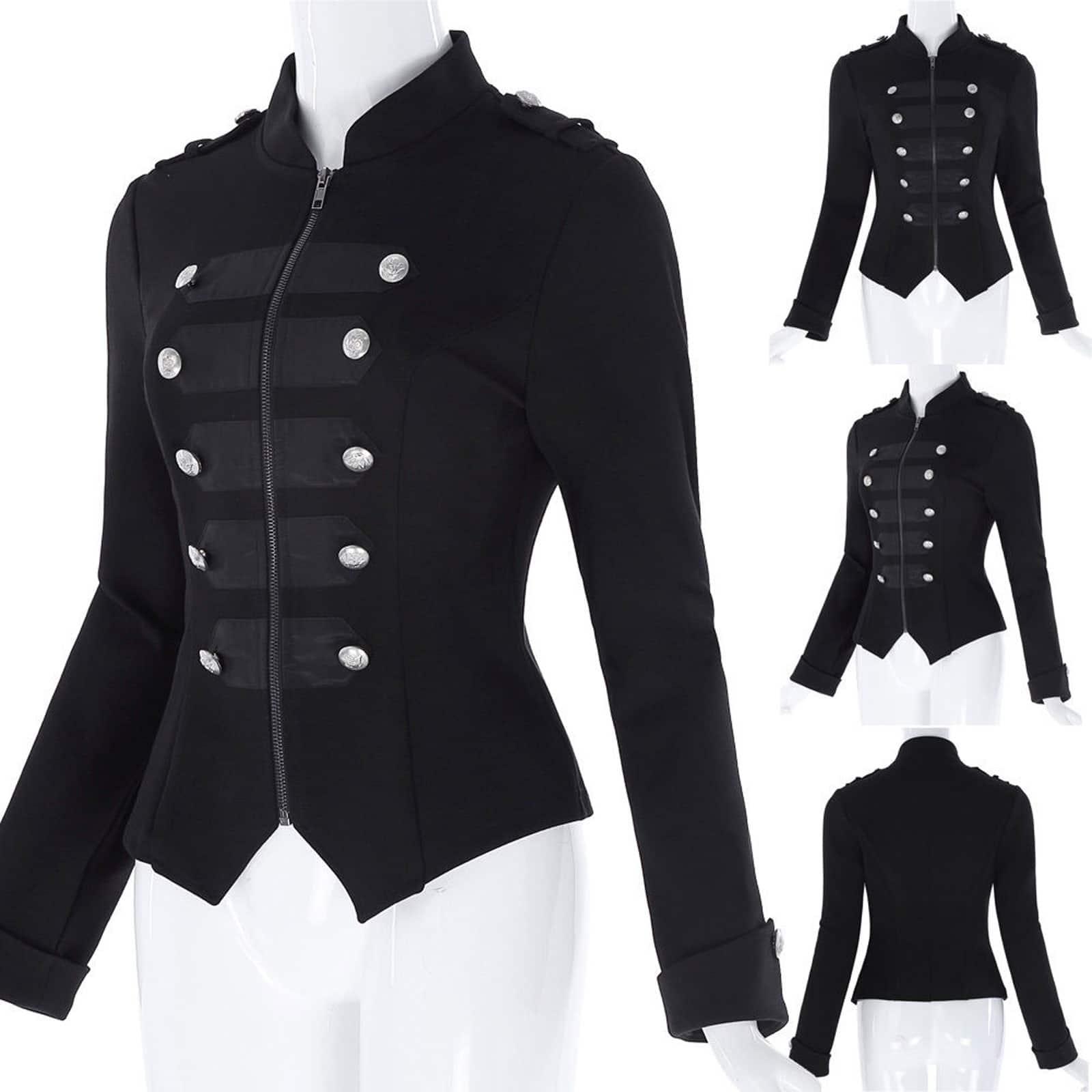5949d58c60 Steampunk Emo MCR Punk Gothic Military Jacket