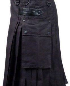 Black Deluxe Utility Kilt, Best Kilt for Men, Fashion Kilts