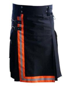 Black-Firefighter-Kilt-with-high-visible-reflector-Orange-Reflectors