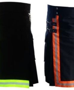 Black Firefighter Kilt with high visible reflector, Firefighter Kilts, Best Kilts, Kilts for Men