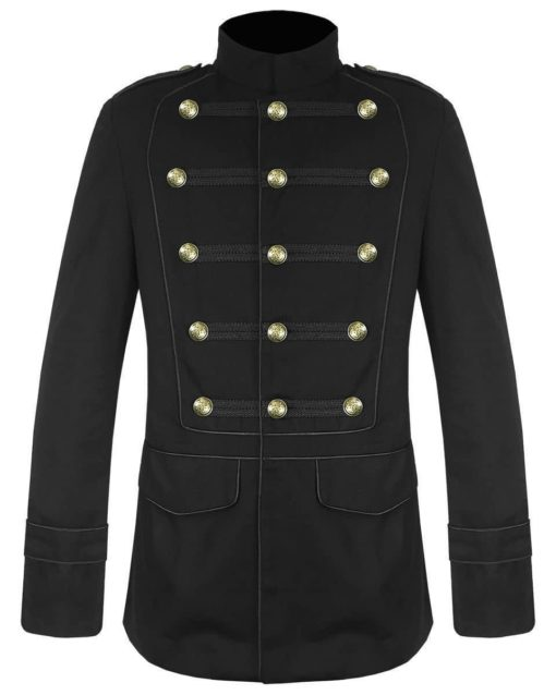 Black Military Jacket Goth Steampunk Vintage Pea Coat, Gothic Clothing, Gaoth Jackets, Jackets for Men