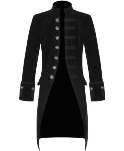 Black Velvet Goth Steampunk Victorian Frock Coat, Gothic Clothing, Jackets for Men
