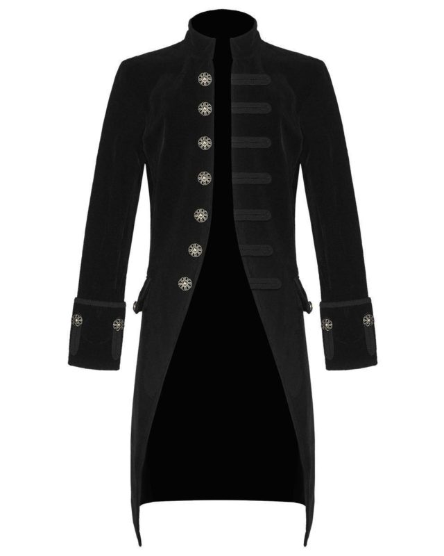 Black Velvet Goth Steampunk Victorian Frock Coat, Gothic Clothing, Jackets for Men, Seampunk jacket for sale, buy steampunk jacket, gothic jacket for sale, buy gothic jacket, goth jacket for sale, buy goth jacket, military jackets for men, military jackets for sale, buy military jackets