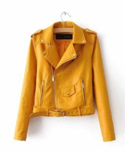 leather jacket, orange leather jacket, leather jacket for women