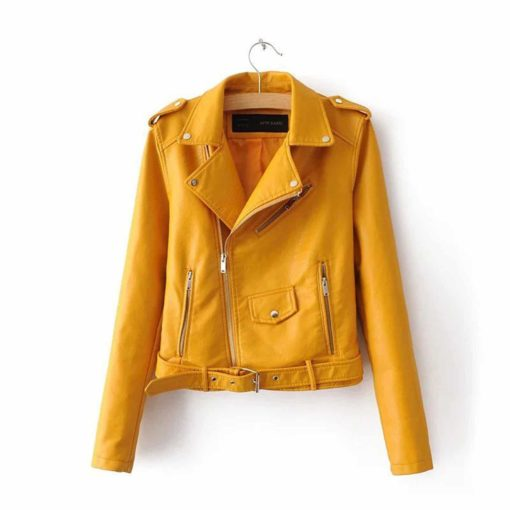 leather jacket, orange leather jacket, leather jacket for women