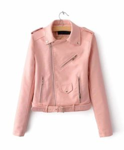 pink leather jacket, leather jacket in pink, leather jacket for women