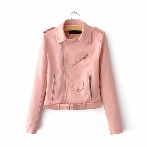 pink leather jacket, leather jacket in pink, leather jacket for women