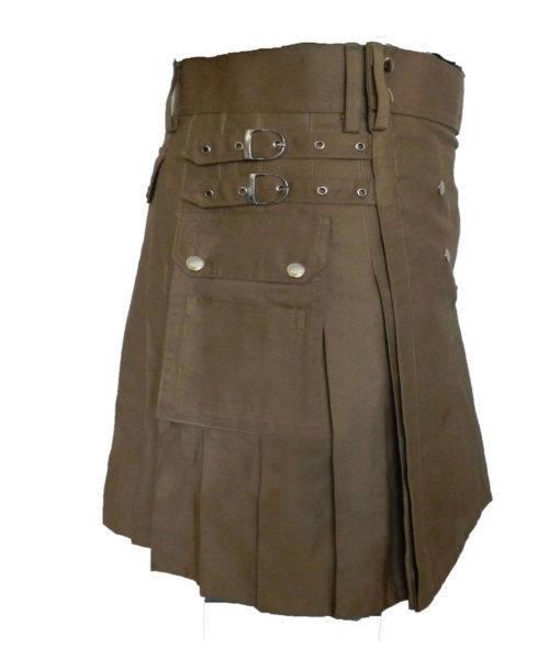khaki kilt, dark khaki kilt, utility kilt, plain kilt, cargo kilt, cargo utility kilt, Cargo khaki kilt