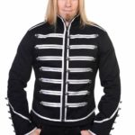 Men-Black-Banned-Military-Drummer-Parade-Jacket-Goth-Punk-Adam-Ant-Style-Silver