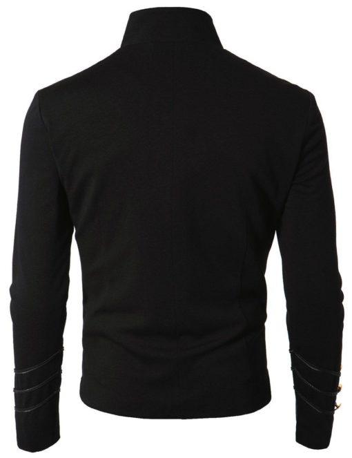 Black Embroidery Military Napoleon Hook Jacket, Military Jackets, Traditional Jackets, Jackets for Men