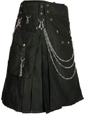 Deluxe Utility Fashion Kilt With Chrome Chain