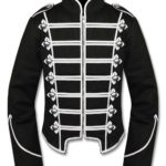 Mens-Silver-Black-Military-Marching-Band-Drummer-Jacket-New-Style-Front