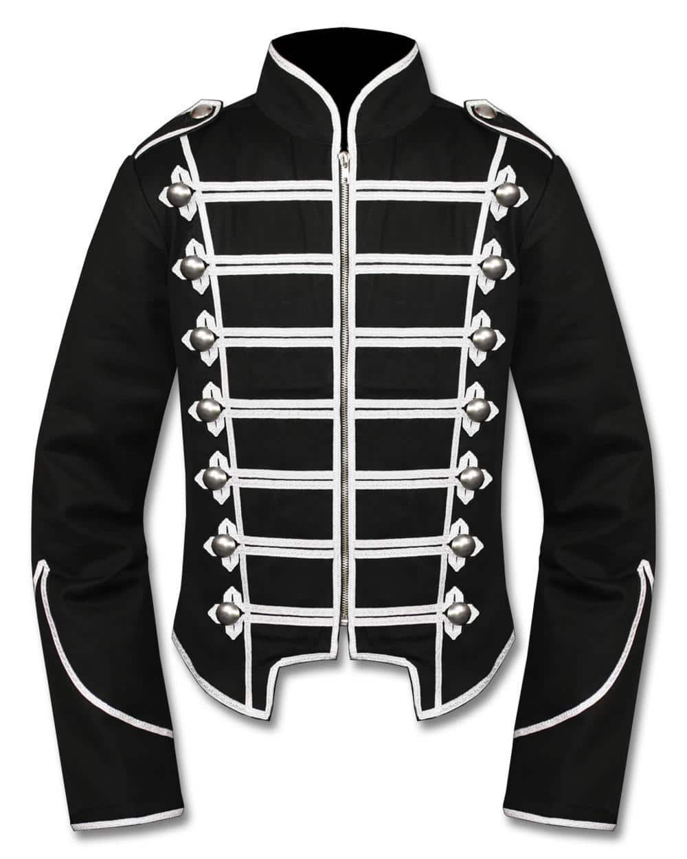 Mens Black Silver Military Drummer Jacket Custom Made Kilt And Style Marching Band Traditional Jackets For Men Best