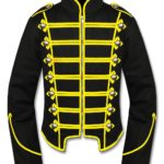 Mens-Yellow-Black-Military-Marching-Band-Drummer-Jacket-New-Style-Front