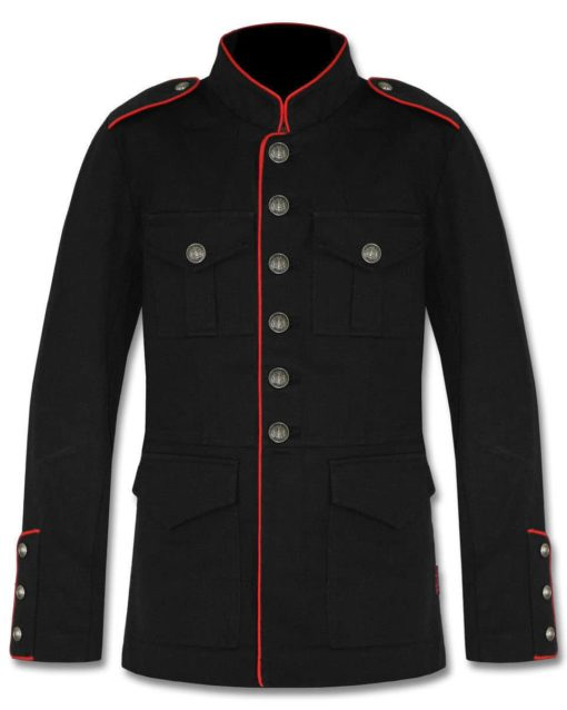 Military Jacket Black Red, Gothic Jackets, Military Jackets for Men, Best Jackets