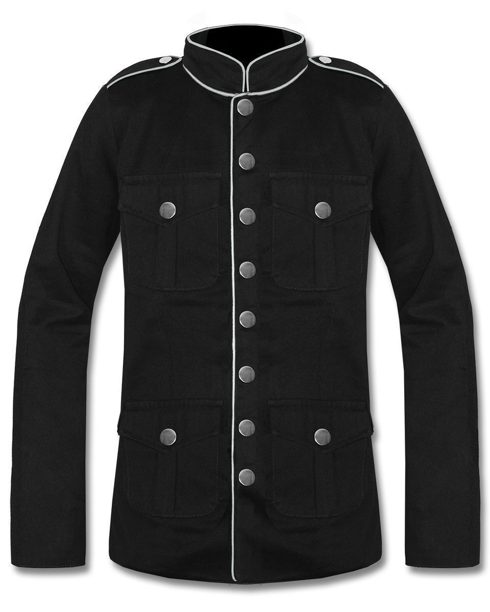 Military Jacket Black/White Goth Steam Punk Army Officer Pea Coat