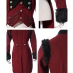 RQBL-Womens-Military-Coat-Jacket-Red-Black-Tailcoat-Gothic-VTG-Steampunk-close