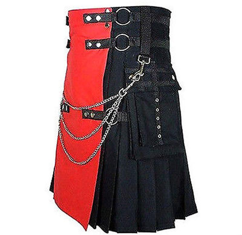 red kilt, black kilt, utility kilt, red utility kilt, black utility kilt, gothic kilt, gothic utility kilt, kilt for steampunks, steampunk kilts