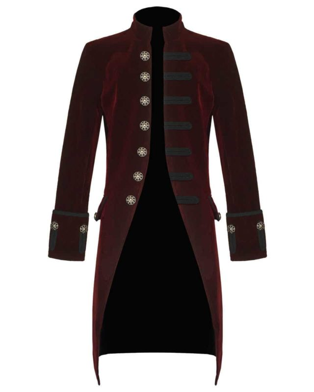 Red Velvet Goth Steampunk Victorian Frock Coat, Gothic Clothing, Jackets for Men, Seampunk jacket for sale, buy steampunk jacket, gothic jacket for sale, buy gothic jacket, goth jacket for sale, buy goth jacket, military jackets for men, military jackets for sale, buy military jackets