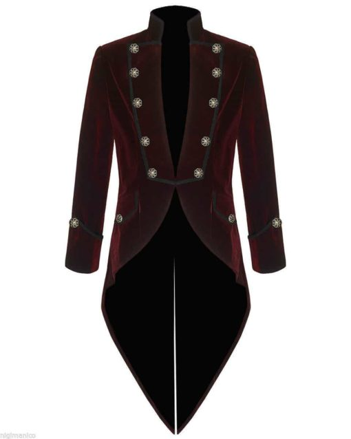 Tail coat Jacket Red Velvet Goth Steampunk Victorian, Gothic Clothing, Velvet Jackets, Best Jackets for Men
