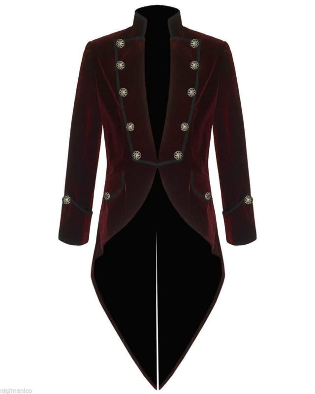 Tail coat Jacket Red Velvet Goth Steampunk Victorian, Gothic Clothing, Velvet Jackets, Best Jackets for Men, Seampunk jacket for sale, buy steampunk jacket, gothic jacket for sale, buy gothic jacket, goth jacket for sale, buy goth jacket, military jackets for men, military jackets for sale, buy military jackets