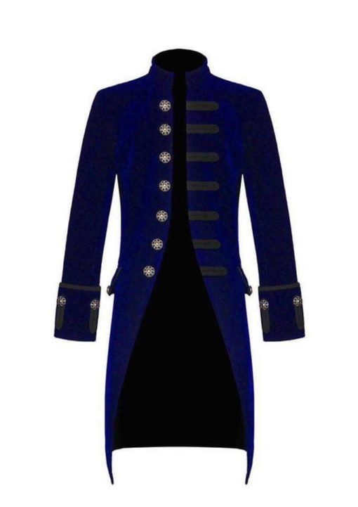 Blue Velvet Goth Steampunk Victorian Frock Coat, Gothic Clothing, Jackets for Men