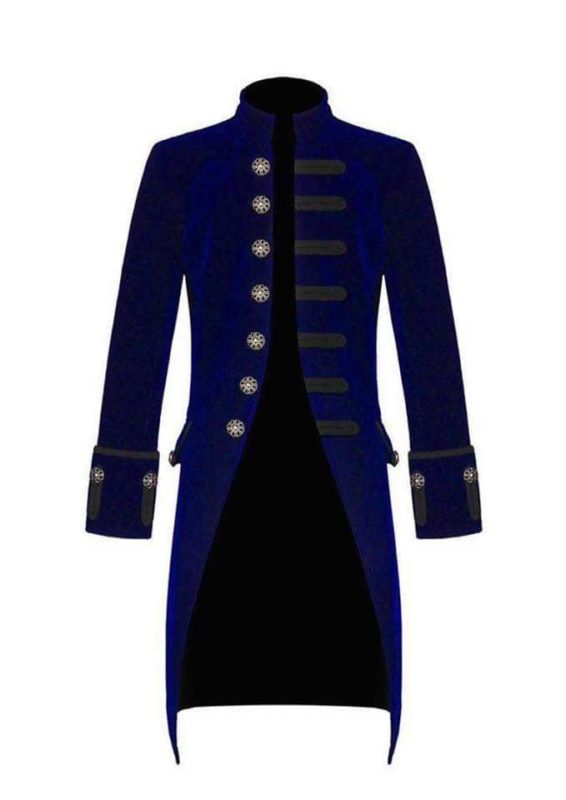 Blue Velvet Goth Steampunk Victorian Frock Coat, Gothic Clothing, Jackets for Men, Seampunk jacket for sale, buy steampunk jacket, gothic jacket for sale, buy gothic jacket, goth jacket for sale, buy goth jacket, military jackets for men, military jackets for sale, buy military jackets