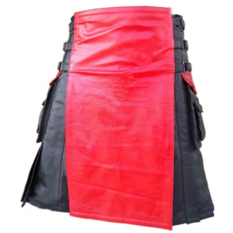 leather kilt, interchangeable leather kilt, interchageable kilt, leather hybrid kilt, kilt for men, leather kilt, two toned kilt