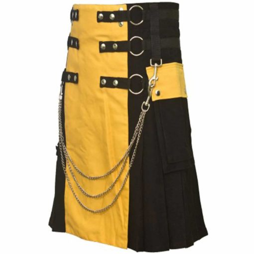 Scottish Black/Yellow Fashion Kilt , Best Utility Kilt, Utility Kilt, Kilt for Men