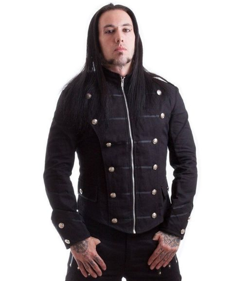 Handmade Black Military Jacket, Goth Punk Jacket, Best Traditional Jackets for Men, Best Jackets