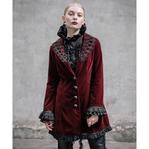 Frock Coat Red Velvet Goth Steampunk VTG, Gothic Clothing for Women, Womens Gothic Jackets