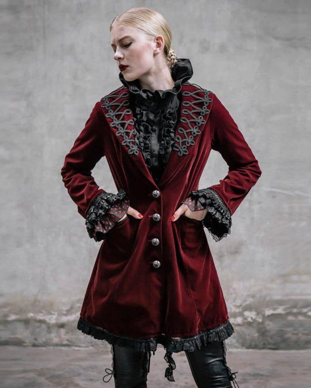 Frock Coat Red Velvet Goth Steampunk VTG, Gothic Clothing for Women, Womens Gothic Jackets, buy gothic jackets, buy steampunk jacket, buy punkrave jacket, gothic jacket for sale, punkrave jacket for sale, steampunk jacket for sale