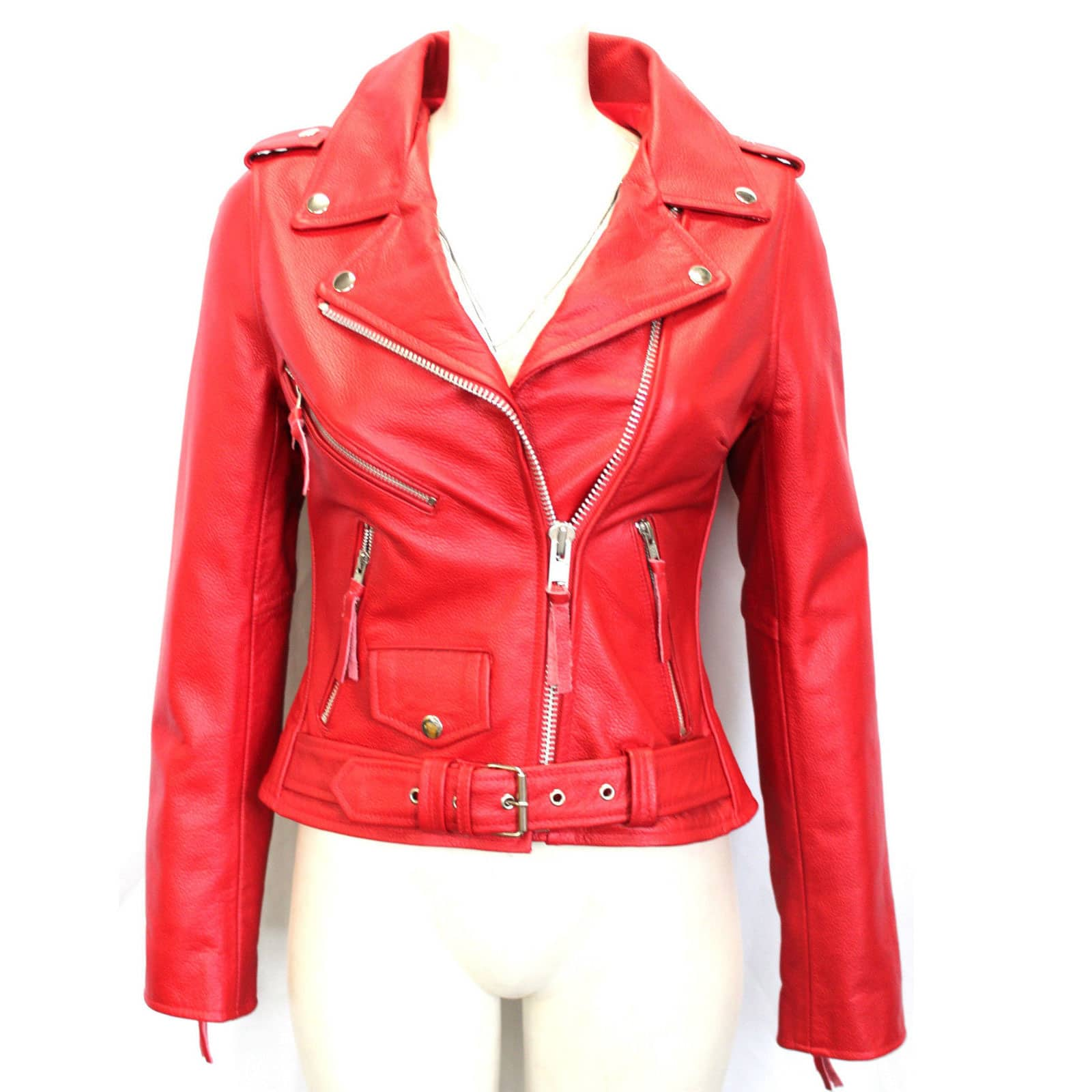 Brando Biker Style Red Leather Jacket for Women - Custom Made