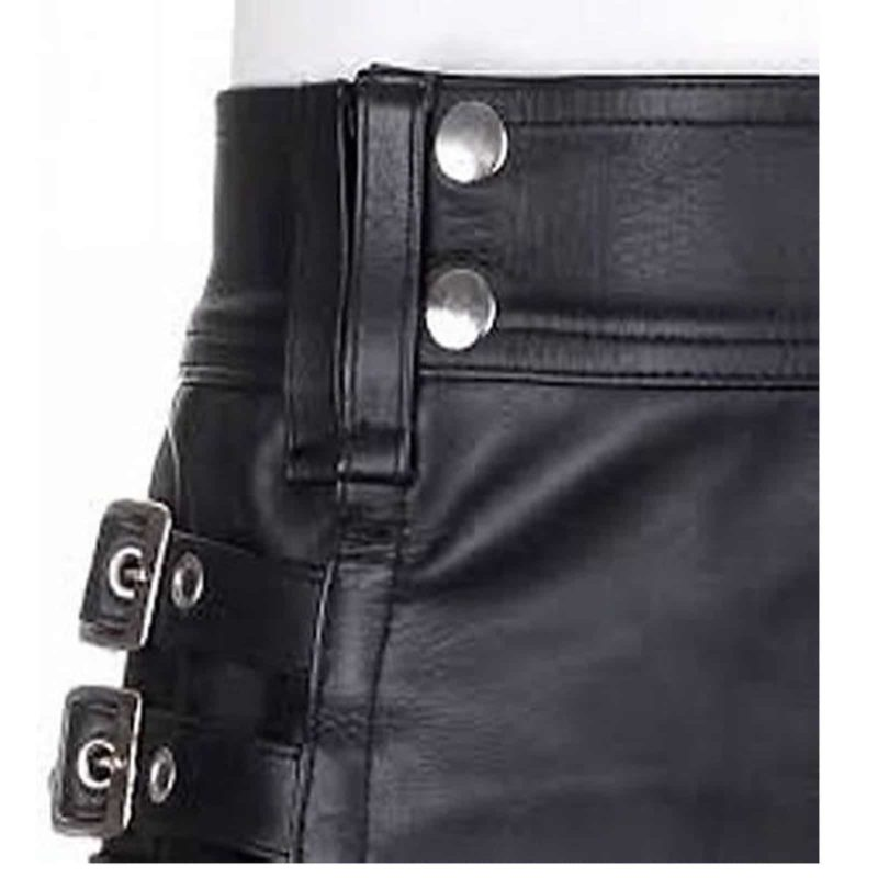 Black Leather Kilt, Cargo Pocket Kilts, Kilts for Men, leather kilt, leather kilts for sale, Black leather kilts, Black leather kilts for sale, Mens kilt