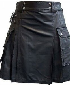 Black Leather Kilt with Twin Cargo Pockets, Cargo Pocket Kilts, Kilts for Men, Best Kilts