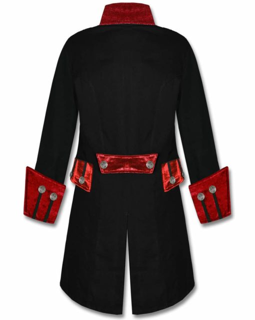 Black Red Velvet Trim Steampunk, Velvet Jackets, Gothic Clothing, Gothic Jackets