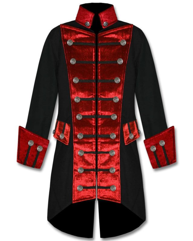 Black Red Velvet Trim Steampunk, Velvet Jackets, Gothic Clothing, Gothic Jackets, Seampunk jacket for sale, buy steampunk jacket, gothic jacket for sale, buy gothic jacket, goth jacket for sale, buy goth jacket, military jackets for men, military jackets for sale, buy military jackets