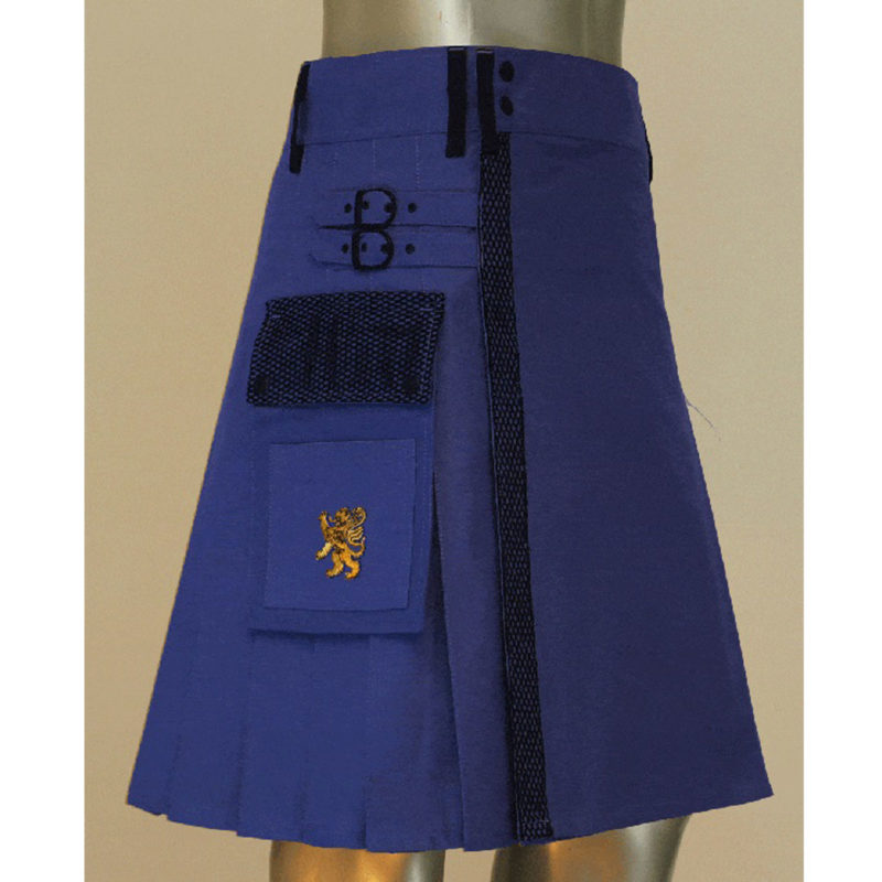 blue utility kilt, blue net pocket kilt, utility kilt, cargo utility kilt, kilt for sale
