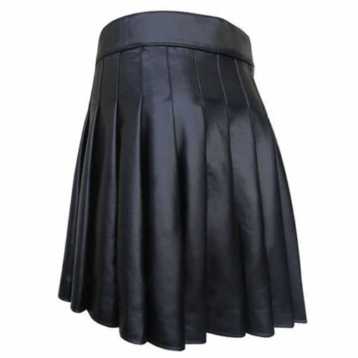 Cowhide Black Open Pleated Leather, Black Leather Kilt, Best Kilts, Kilts for Men
