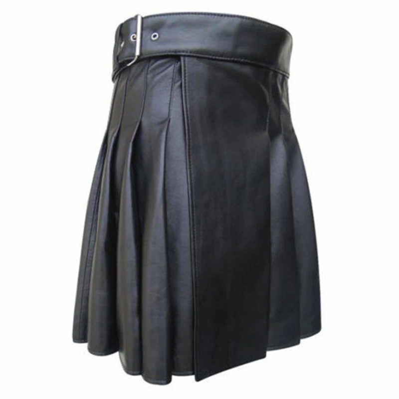 black leather kilt, side belted leather kilt, leather kilt for sale, leather kilts, kilts for sale, leather kilts
