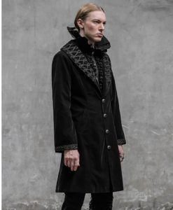 Akacia Mens Jacket Frock Coat, Black Velvet Jackets for Men, Mens Jacket, Gothic Clothing